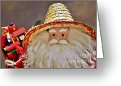 Straw Hat Greeting Cards - Santa is a gardener Greeting Card by Christine Till