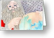 Paula Dickerhoff Greeting Cards - Santa is Planning Greeting Card by Paula Dickerhoff