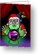 Psychic Greeting Cards - Santa Knows Greeting Card by Christopher Capozzi