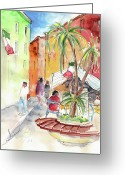 Italy Drawings Greeting Cards - Santa Margherita in Italy 05 Greeting Card by Miki De Goodaboom
