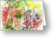 Italy Drawings Greeting Cards - Santa Margherita in Italy 08 Greeting Card by Miki De Goodaboom