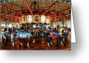 Amusement Ride Greeting Cards - Santa Monica Carousel 003 Greeting Card by Lance Vaughn