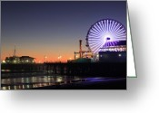 Ferris Wheel Greeting Cards - Santa Monica Pier at Sunset Greeting Card by Frank Freni