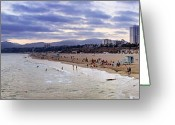 Custom Art Photo Greeting Cards - Santa Monica Sunset Panorama Greeting Card by Ricky Barnard