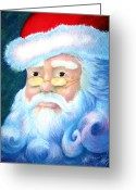 Christmas Pastels Greeting Cards - Santa Portrait Greeting Card by Sean Seal