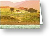 Pastels. Greeting Cards - Santa Rosa Island Cottage Greeting Card by Gus McCrea