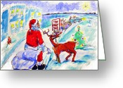 Rudolph Drawings Greeting Cards - Santa towed - 2005 Greeting Card by Charles M Williams