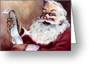 Santa Greeting Cards - Santa with a List Greeting Card by Sheila Kinsey