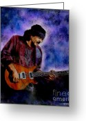 Quadro Glass Art Greeting Cards - Santana Greeting Card by Betta Artusi