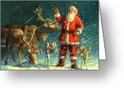 Red Drawings Greeting Cards - Santas and Elves Greeting Card by David Price