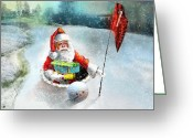 Miki Golf Art Greeting Cards - Santas Hole in One Greeting Card by Miki De Goodaboom