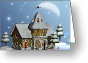 Decor Floral Picture Cards Greeting Cards - Santas House Greeting Card by Corey Ford