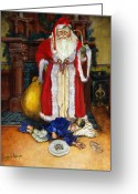Old Painting Greeting Cards - Santas Littlest Helper Greeting Card by Jeff Brimley