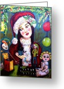 Jack-in-the-box Greeting Cards - Santas Naughty Little Helpers Greeting Card by Shannon Nicole