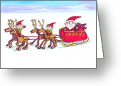 Aften Greeting Cards - Santas Sleigh Greeting Card by Ghita Andersen