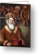 Oil Painting Greeting Cards - Santas Special Toys Greeting Card by Enzie Shahmiri