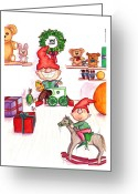 Aften Greeting Cards - Santas Workshop Greeting Card by Ghita Andersen