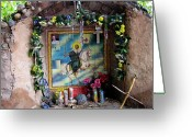 Santa Fe Greeting Cards - Santiago Apostel Chimayo Greeting Card by Kurt Van Wagner