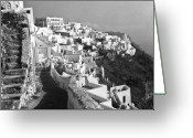 Thira Photo Greeting Cards - Santorini - Greece Greeting Card by John Battaglino
