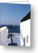 Stucco Walls Greeting Cards - Santorini Blue Greeting Card by Julie Palencia