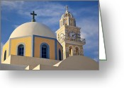 Thira Photo Greeting Cards - Santorini Church Greeting Card by Brian Jannsen