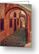 Archways Greeting Cards - Santorini Courtyard Greeting Card by Sandra Bronstein