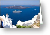 Volcanic Greeting Cards - Santorini Cruising Greeting Card by Meirion Matthias