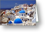 Greek Photo Greeting Cards - Santorini Island. Greeting Card by Fernando Barozza