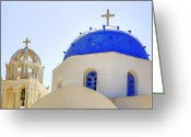 Church Greeting Cards - Santorini Greeting Card by Joana Kruse