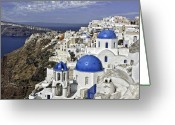 Greece Digital Art Greeting Cards - Santorini Greeting Card by Lynn Andrews