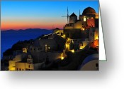 Greece Greeting Cards - Santorini Sunset Greeting Card by Ian Stotesbury