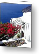 Thira Photo Greeting Cards - Santorini Villa  Greeting Card by Julie Palencia