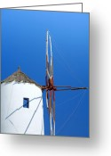 Thira Photo Greeting Cards - Santorini windmill Greeting Card by Paul Cowan