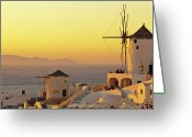Greek Photo Greeting Cards - Santorini Windmills At Sunset Greeting Card by P!xntxt