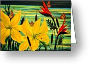 Bird Of Paradise Greeting Cards - Santuary Greeting Card by Adele Moscaritolo