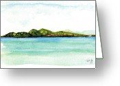 Virgin Islands Painting Greeting Cards - Sapphire Bay 2 Greeting Card by Paul Gaj