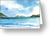 Virgin Islands Painting Greeting Cards - Sapphire Bay Towards Tortolla Greeting Card by Paul Gaj
