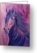 Running Horse Greeting Cards - Sapphire Greeting Card by Theresa Paden