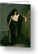 Sinister Greeting Cards - Sappho Greeting Card by Charles Auguste Mengin