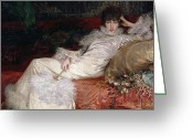 Pillows Greeting Cards - Sarah Bernhardt Greeting Card by Georges Clairin