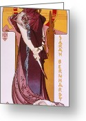 Tragedy Greeting Cards - Sarah Bernhardt Greeting Card by Granger