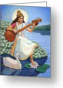 Spiritual Art Pastels Greeting Cards - Sarasvati Greeting Card by Sue Halstenberg