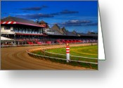 Race Greeting Cards - Saratoga Race Track Greeting Card by Don Nieman