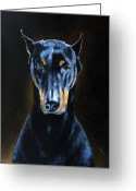 Dobermann Greeting Cards - Sarge Greeting Card by Arie Van der Wijst