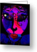 Dark Blue Chin Greeting Cards - Sarina Greeting Card by Natalie Holland