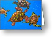 Sea Turtles Greeting Cards - Sarrahs Sea Turtles Greeting Card by Patti Schermerhorn