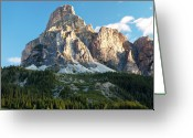 Mountains Greeting Cards - Sassongher At Sunrise, Alta Badia Greeting Card by Matteo Colombo