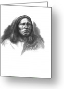 Western Pencil Drawings Greeting Cards - Satanta Greeting Card by Lee Updike