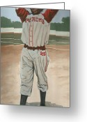Negro Leagues Painting Greeting Cards - Satchel-1 Greeting Card by Perry Ashe