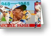 Satchel Paige Greeting Cards - Satchel Paige Greeting Card by Cliff Spohn